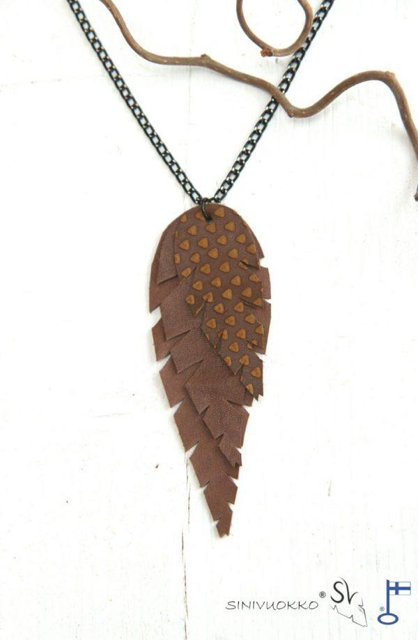lehti-kaulakoru-ketjulla-chocolate-suklaa-ruskea-kuvio