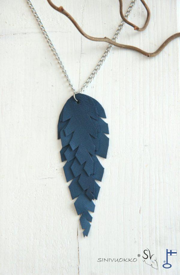 lehti-kaulakoru-ketju-blue-sininen-lehti-sulka