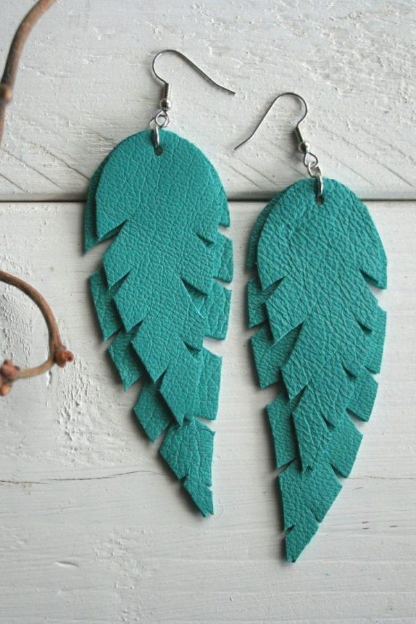 Turkoosi lehti korvakorut sinivuokko kotimainen design valmistettu suomessa kierrätyskorut