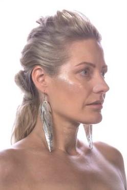 Verso 360 XL-koko hopea silver korvakorut sinivuokko malli