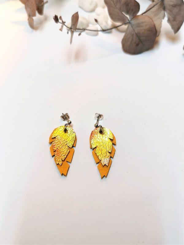 Lehti-nappi-keltainen-hawaiji-sinivuokko-korvakorut