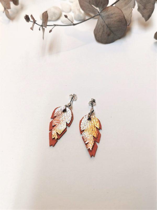 Lehti-nappi-oranssi-hawaiji-sinivuokko-korvakorut