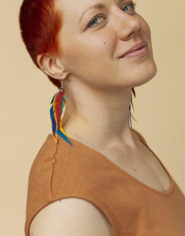 Verso Rainbow sateenkaari korvakorut värikkäät malli sinivuokko vegaani nahka